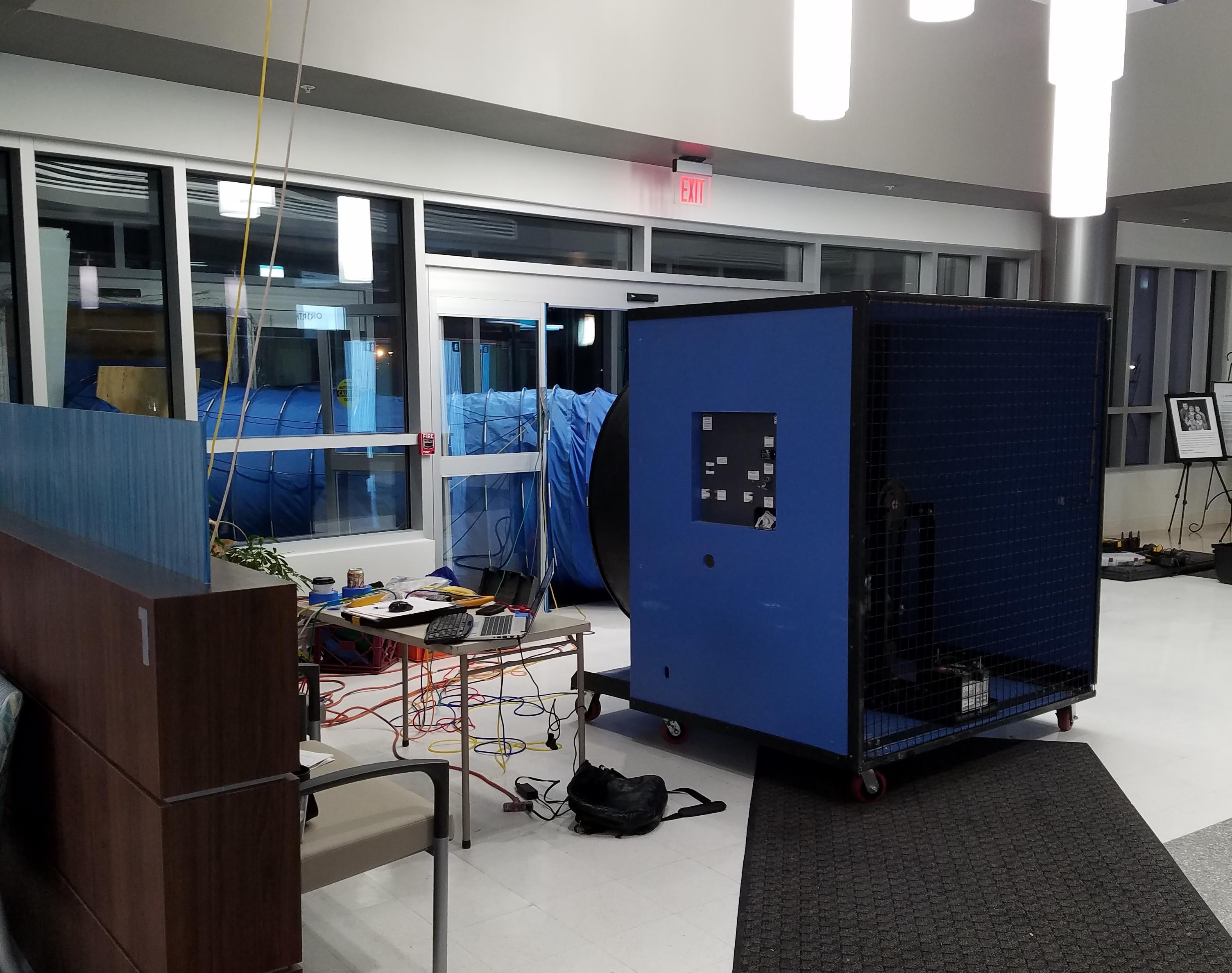 Inside view of commercial blower door equipment