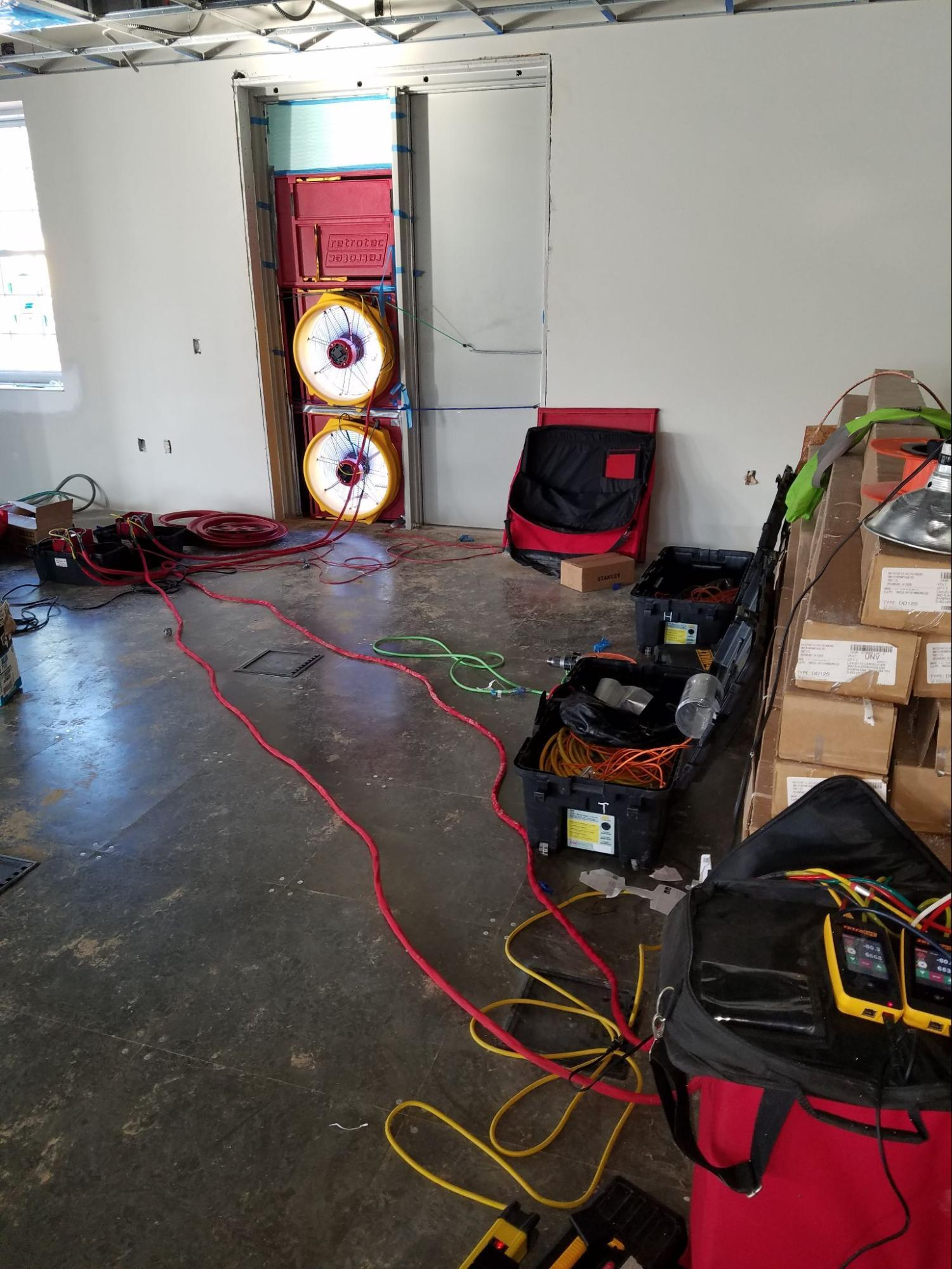 Commercial Air Barrier Testing With Blower Door Equipment