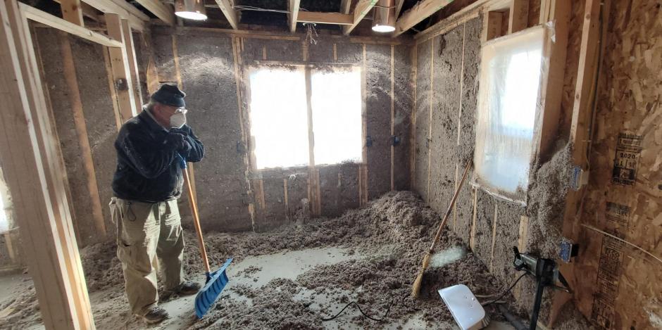 Cellulose Wall Spray Insulation Work In-Progress